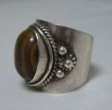 Men's Vintage Sterling Silver & Chunky Wide Tigers Eye Knuckle Ring - Size 6.5