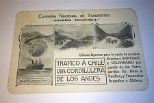 Rare Antique Transportation / Railway Travel Chile Argentina Trade Card! Spanish