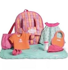American Girl Bitty Baby Backpack Plaid Starter Set for Doll Retired New