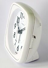 Champion Table Alarm Clock Bold Traditional White Quartz Sweeping Non Ticking