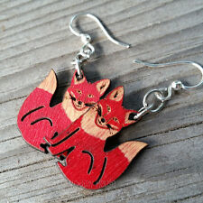 FOX laser-cut wood earrings Green Tree Jewelry CHERRY RED 1292 fun character!