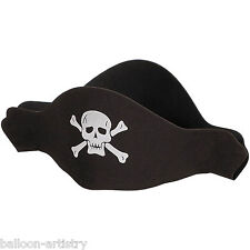 4 Swashbuckling Pirate Black Children's Party Foam Hats