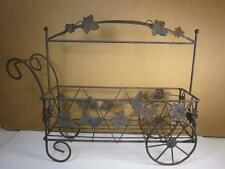 Black Wire Metal Small Rectangular Push Cart Wagon Planter Plant Holder