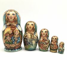 "Russian Fairy Tale ""Tsar Saltan"" Nesting DOLL Hand Carved Hand Painted Signed"