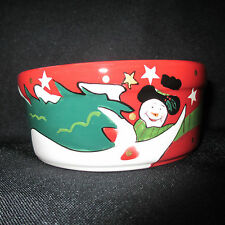 """PRO SELECT Holiday Ceramic Snowman Dog or Cat Dish Bowl Set 4"""" Red 2 Piece"""