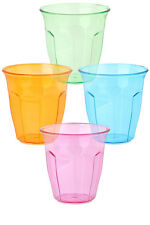 Plastic Party Picnic Tumblers, Coloured Camping Drinks Cups, 250ml, Set of 12