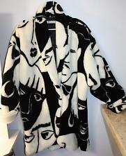 Vintage 1980s Donnybrook Black White Faces Picasso Faux Fur Coat Jacket M