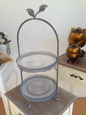 Two Tier Little Leaf Glass & Metal Cake Stand / Cupcake Stand