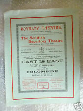 Scottish Repertory Theatre Program EAST IS EAST & COLOMBINE- P E Hubbard,R Arkel