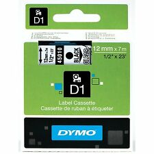 "Dymo 45010 D1 Tape Cartridge for Label Makers, Black on Clear, 1/2"" w x 23 ft."