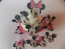 24 PRECORTADO Mini Minnie y Mickey Oblea comestible/papel de arroz para tartas/