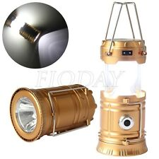Collapsible Solar Outdoor Rechargeable Camping Lantern Light LED Hand Lamp New