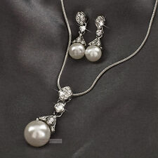 18k white gold GF swarovski crystal wedding pearl necklace earrings set