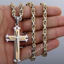 Mens Chain 5mm Gold Silver Byzantine Stainless Steel Cross Pendant Necklace 22''