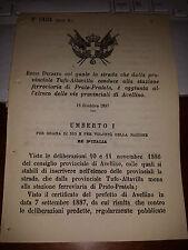 REGIO DECRETO 1887 STRAD PROV TUFO-ALTAVILLA .STAZIONE FERROVIA PRATO PRATOLA AV