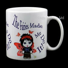 *THE FAIRIES MADE ME DO IT!* White Ceramic Rage In Emo Goth Fairy Mug