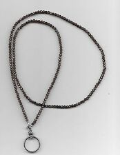 wire beaded lanyard id badge holder necklace small black CRYSTAL #1