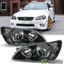 Black 2001-2005 Lexus IS300 Replacement Headlights Headlamps Pair Set Left+Right