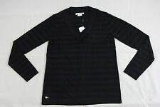 BNWT Lacoste Black Blue Striped Merino Wool Sweater Sz 6 AF4442 100% Authentic