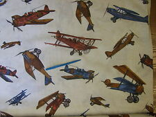 V FINEST LINEN COTTON POLY CANVAS PRINT VINTAGE AIROPLANES  DESIGNS SEE PIC
