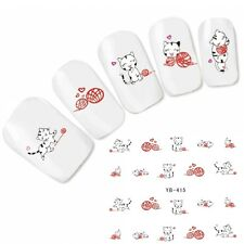 Tattoo Nail Art Katze Aufkleber Cute Cat Nagel Sticker Fuß Water Decal Neu!