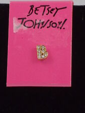 Betsey Johnson Goldtone Clear Crystal Letter Initial B Single Stud Earrings