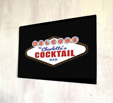Personalised with your name Cocktail Bar Las Vegas Nevada lights A4 metal plaque