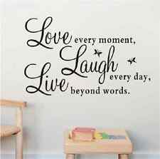 Wall Quote Vinyl Art Decal Live every moment,Laugh every day,Love beyond words