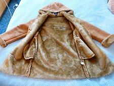 gap duffle coat tan suede sheep skin fur hood size uk 6 8 girls 12