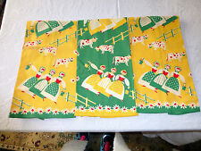 VTG Dutch Girl Farm Cows UNUSED Linen Kitchen 3 TOWEL SET farming