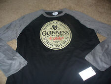 Guinness Mens KO Beer Black & Gray Long Sleeve T-Shirt Size Large L