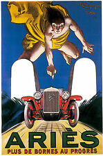 Vintage French Sports Car Aries Motor Racing Poster Reprint A4