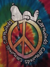 NWOT - CAROWINDS SNOOPY SLEEPING ON PEACE SIGN Adult Size M Short Sleeve Tee