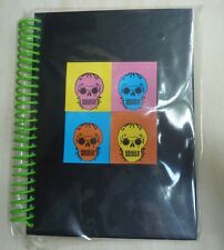 Spiral hard Notebook Day of the Dead Sugar Skulls design, 60 sheets, green black