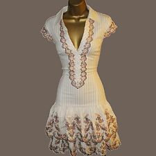 Karen Millen Beige Stripe Embroidered Floral Shirt Style Summer Shift Dress 12UK