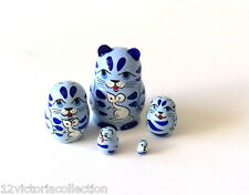 BLUE CAT Russian Hand Carved Hand Painted miniature Nesting DOLL MINI animal