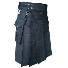 Black denim detachable pocket utility kilt made to order