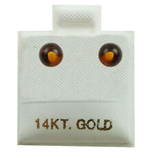 14K Yellow Gold - 4mm Amber Ball Stud Earrings (GE418)