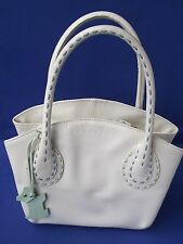 Radley Cream Leather Grab Bag Handled Handbag Light Green Stitching Freestanding