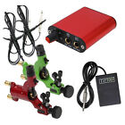 2Pcs Pro Rotary Tattoo Machine Gun Motor & Mini Power Foot Pedal Kit R6 Red/Gree