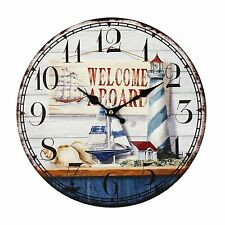 "Hometime MDF ""Welcome Aboard"" Wall Clock Kitchen Modern Retro"