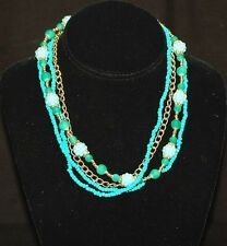 Vintage Retro Costume Jewelry Turquoise Beaded Choker Necklace w Gold Tone Clasp