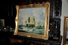 large Good Quality old American Fleet Ships  oil Painting