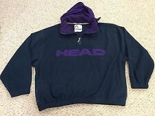 Vtg 1990s HEAD Tennis LOGO Mens 2XL FLEECE PULLOVER JACKET Green/Purple Hood XXL