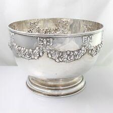 """Large Antique Solid Sterling Silver Rose Bowl Elkington & Co Hallmarked 1897 6½"""""""