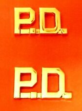P.D. Collar Pin Set Cut Out Letters Police Department Gold Plated 2410 New
