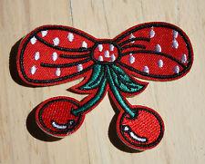 Kirschen Schleifen Aufnäher cherry patch Rockabilly Bügelbild Aufbügler cherries