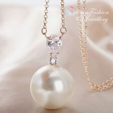 18K Rose Gold Plated Cubic Zirconia Gorgeous Large Pearl Long Necklace
