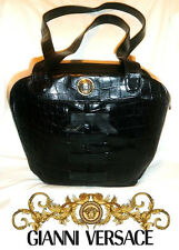 Gianni VERSACE ~ RARE Black Real Leather Shoulder Bag * Vintage * AUTHENTIC