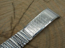 """JB Champion Mens Vintage Watch Band White Gold Tone 22mm 7/8"""" Center Expansion"""